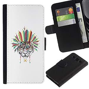 SAMSUNG Galaxy S3 III / i9300 / i747 Modelo colorido cuero carpeta tirón caso cubierta piel Holster Funda protección - Tiger Native American Indian Feathers