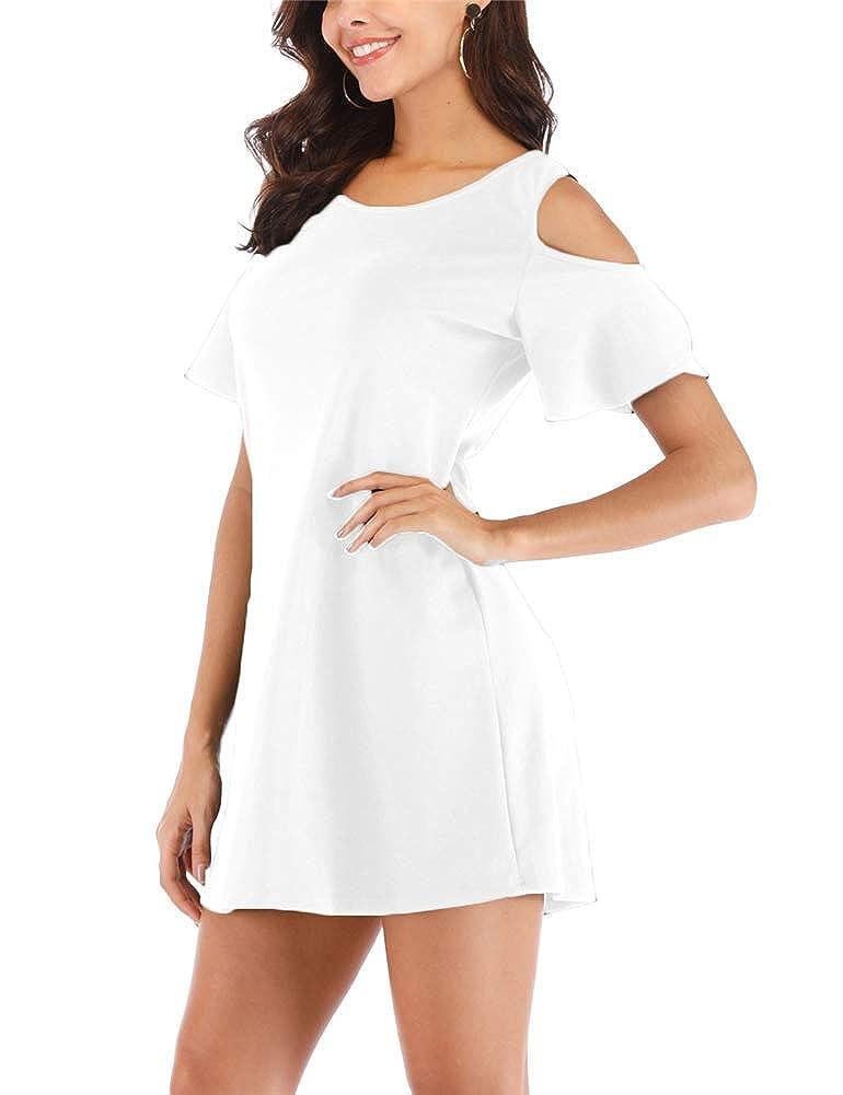 White Cuihur Womens Short Sleeve Cold Shoulder Casual Summer TShirt Dress