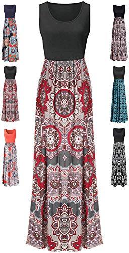 LIYOHON Womens Summer Striped Print Loose Maxi Dress Contrast Sleeveless Tank Top Floral Print Long Maxi Dresses for Women 02 Black Multi-XL