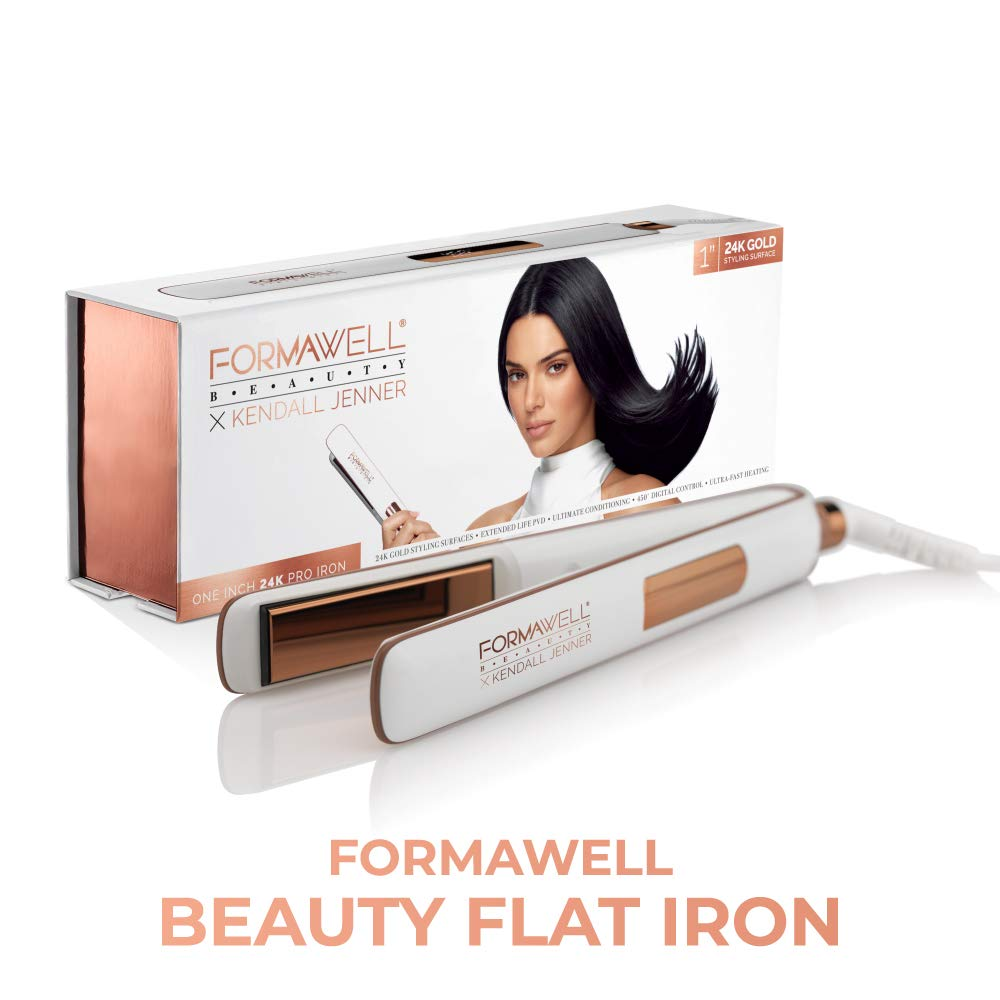 Formawell Beauty x Kendall Jenner One Inch 24K Gold Pro Flat Iron Hair Straightener Ultra-Fast Heating to 450 F with Digital LED Temperature Display Dual Voltage, No-Tangle 8ft Cord