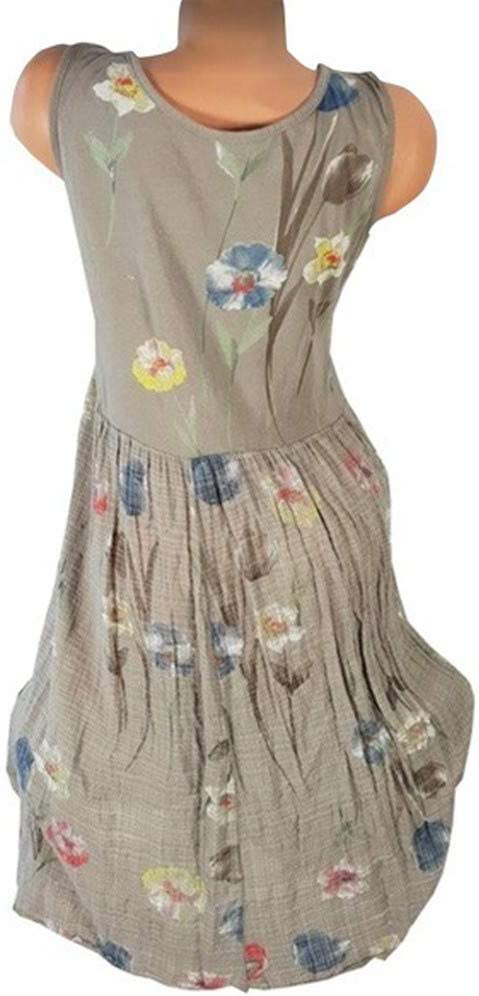 Summer Dresses For Women Clearances Summer Casual Round Neck Dress Floral Print Sleeveless Mini Dress For Anniversary,Party,Valentines Day Khaki,XXXXXL