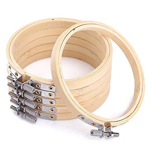 Caydo6 Pieces 3 Inch Embroidery Hoop Bamboo Circle Cross Stitch Hoop Ring for Art Craft Handy Sewing ()