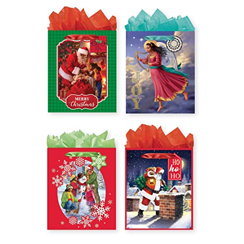 Search : 4 Pack of African American Christmas Large Gift Bags w/Foil or Glitter Finishes for Xmas