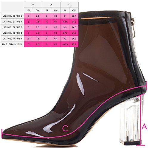 Style Pumps Toe Black Ankle Boots Extra Pointed Block SPYLOVEBUY Women's SO Leather Heel R7zxwqf