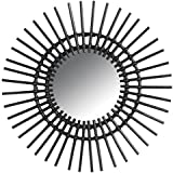 Miroir mural soleil en rotin noir Ø 60 cm by AUBRY GASPARD