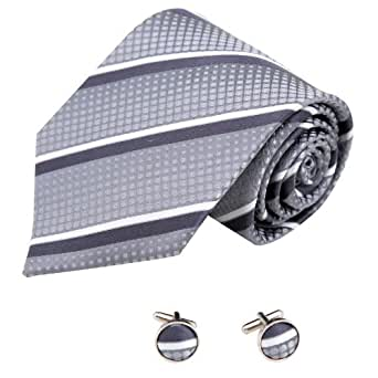 A2032 Dark Grey Stripes Black Fitted Gift Giving One Size Silk Ties Cufflinks Set 2PT By Y&G