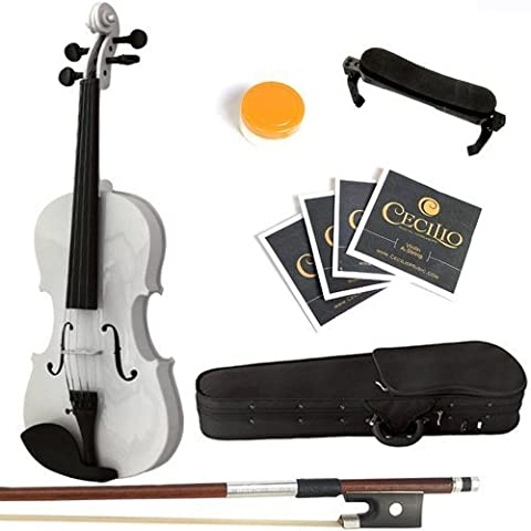 Mendini 4/4 MV-White Solid Wood Violin with Hard Case, Shoulder Rest, Bow, Rosin and Extra Strings (Full (Violin Case 4 4 Hard)