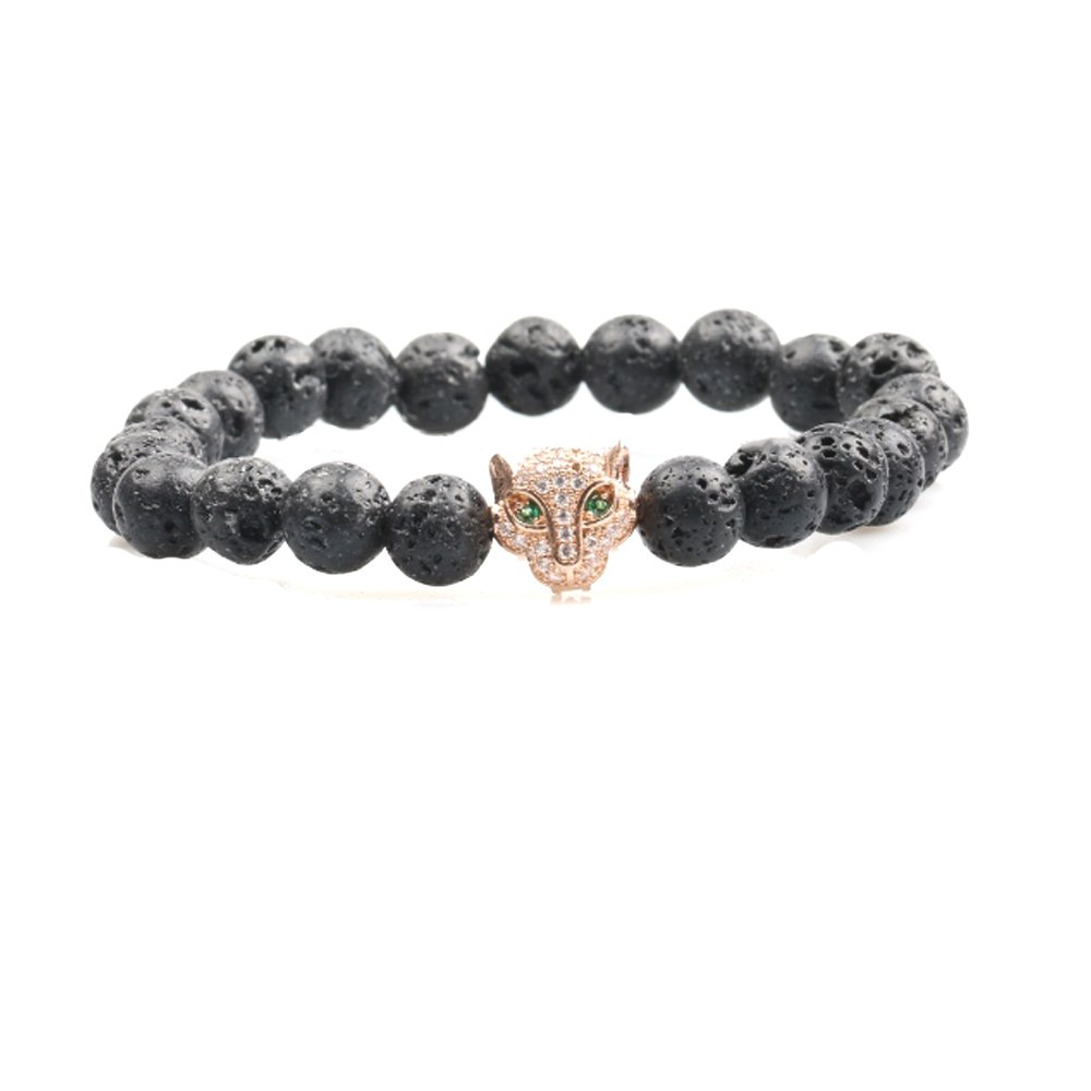 Big Cat Rescue Genuine Lava Stone Beads Stretchy Elastic Bracelet with Jeweled Leopard Head Charm, 8mm, Unisex, for Friendship, Couples, Teens, by