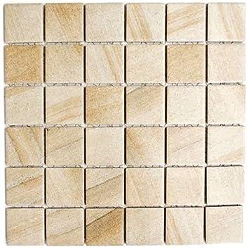 Mosaik Fliese Keramik Steinoptik Sandbeige Für BODEN WAND BAD WC DUSCHE  KÜCHE FLIESENSPIEGEL THEKENVERKLEIDUNG BADEWANNENVERKLEIDUNG Mosaikmatte
