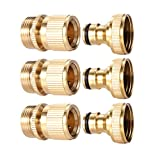 3Sets Garden Hose Quick Connector 3/4 inch GHT Brass Easy Connect Fitting - Quick Disconnect Hose Fittings Male and Female (3Pair)