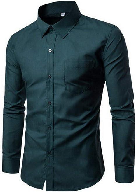 YFSLC-Studio Camisa De Manga Larga Hombre,Verde Oscuro Los Hombres Visten Camisa Manga Larga Camisas Slim Sólido Diseñador De Ropa Masculina Colocar Cómodos De Llevar Camisas De Negocios: Amazon.es: Deportes y aire libre