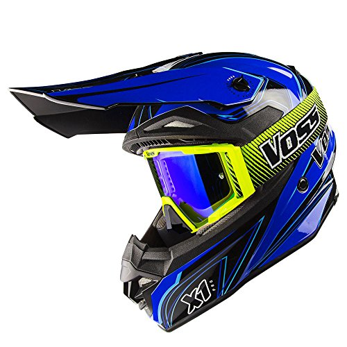 Voss X1 Pro Magneto Graphic Motocross Helmet with Quick Release and Green BLAZE MX Goggles set - L - Blue Magneto