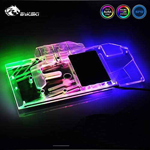 Cooling Liquid Video Cards - GPU Water Block Full-Cover Computer Water Liquid Cooling Graphic Card RGB LED Block Compatible with ASUS ROG Strix RTX 2080 TI O11G Gaming Back Plate