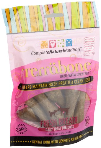 Complete Natural Nutrition Terrabone Fresh Breath Daily Treat for Dogs, 10-Count Small Size Bones (Pack of 2), My Pet Supplies