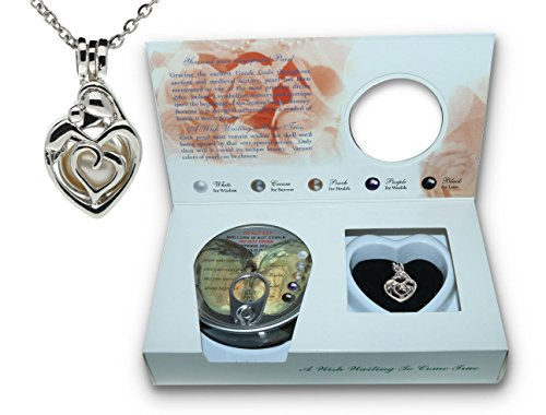 Pearlina Cultured Pearl Oyster Necklace Kit Mother Child Rhodium Plated Cage w/ Stainless Steel Chain 18″