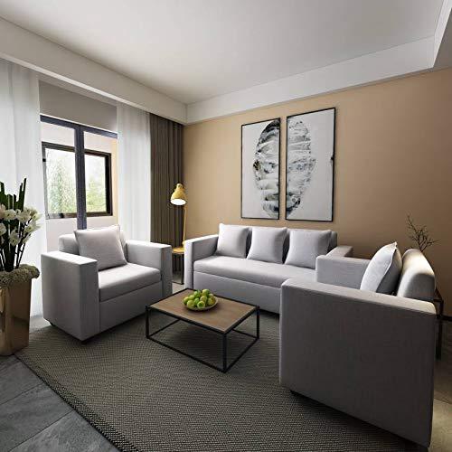 Bharat Lifestyle Lexus Fabric 5 Seater Sofa Set  Light Grey