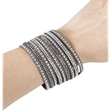 Fashion Bracelet for FitBit, Avia, or Misfit Activity Tracker – The TINLEY Studded Snap Bracelet in Grey – Size M/L – Activity Tracker Not Included