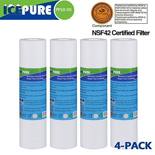 "Big Blue Sediment Replacement Water Filters 5 Micron 10"" x2.5"" Cartridge 4 Pack by ICEPURE"