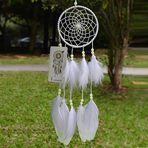 Ricdecor Dream catcher handmade traditional white feather dream catcher wall hanging car hanging decoration ornament (Luminous B (Dia 4.3))