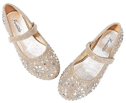 Furdeour Gold Girls Glitter Shoes Ballerina Flats Princess Dress up Shoes Size 11 Sequins Flower Girls Wedding Party Pageant Prom Sparkly Formal Shoes (Gold 11.)