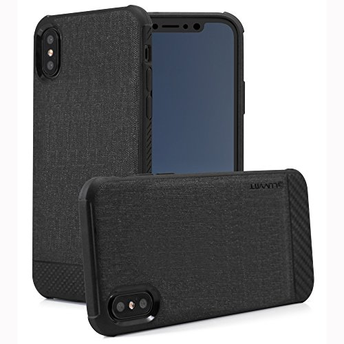 (iPhone Xs Case, Luvvitt Sleek Armor iPhone X/XS Case with Fabric and Carbon Fiber Design for iPhone and XS with 5.8 inch Screen 2017-2018 - Black)