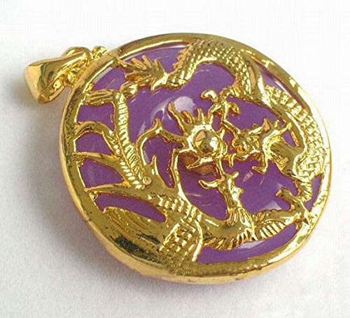 Purple Jade Yellow Gold Plated Dragon Phoenix Sun Pendant Necklace