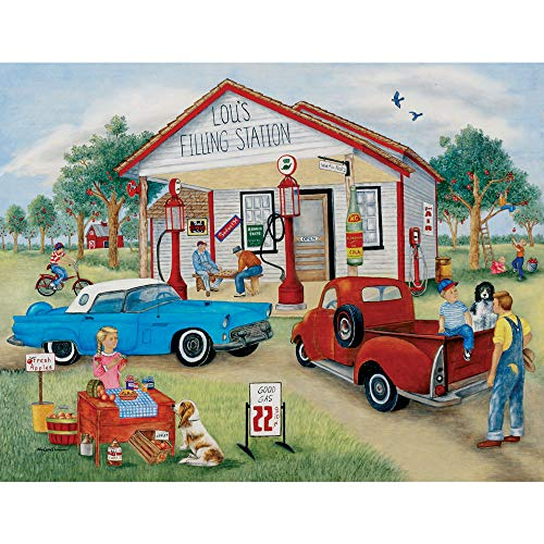 Bits and Pieces - Lou's Filling Station 300 Piece Jigsaw Puzzles for Adults - Each Puzzle Measures 18