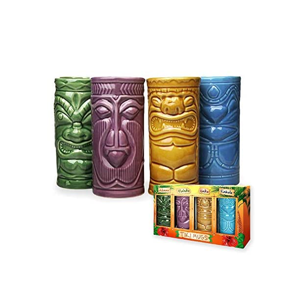 MikaMax – Tiki Mugs Set – Bicchierini Tiki Set di 4 – Tiki Cocktail Mai Tai – Bicchieri da Cocktail – Cocktail Tiki… 1 spesavip
