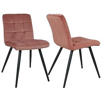 Duhome 2X Silla de Comedor de Tela (Terciopelo) Rosa diseño Retro Silla tapizada Vintage con Patas de Metal seleccion de Color 8043B