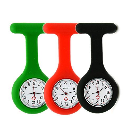 Set of 3 Nurse Watch Brooch, Silicone with Pin/Clip, Infection Control Design, Health Care Nurse Doctor Paramedic Medical Brooch Fob Watch - Green Red -