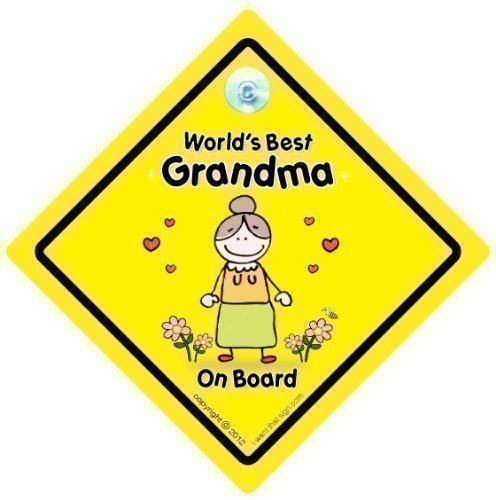 World 's Best Grandma' (a bordo, World 's Best Grandma', Bebè a bordo, decalcomania, adesivo per auto con scritta 'Grandchild', 'Grandparents', Cartello Segnale auto 'Baby Sign-Cartello auto-Signs, con scritta' Grandad ', Pop, per nonna e nonno