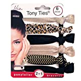 french twist hair accesory - Mia Tony Ties-2 in 1 Hair Ties/Bracelets! 2 Solid Beige Champagne, 2 Leopard Print, 2 Solid Black Colors (6 pieces per card)
