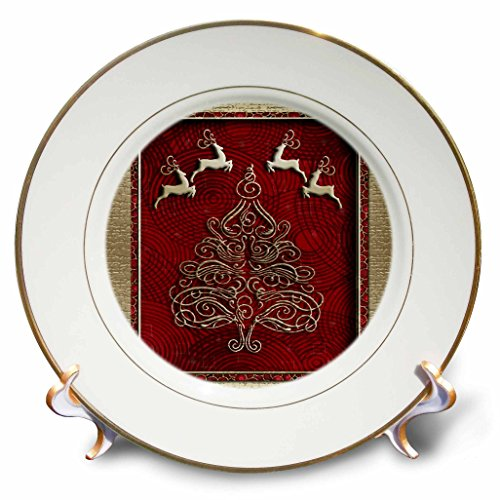3dRose cp_23855_1 Reindeer and Christmas Tree Porcelain Plate, 8-Inch