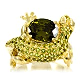 Olive CZ Lizard Ring