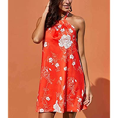 Fronage Women's Casual Sleeveless Floral Mini Dress Summer Beach Halter Neck Dresses: Clothing