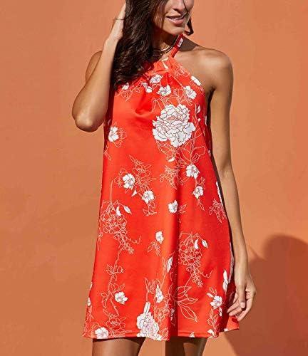 Fronage Women's Casual Sleeveless Floral Mini Dress Summer Beach Halter Neck Dresses 2