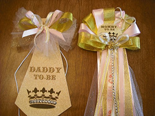 Mommy and Daddy Baby shower corsage and tie set gold and pink Princess crown (Mommy To Be Corsage For Baby Shower)