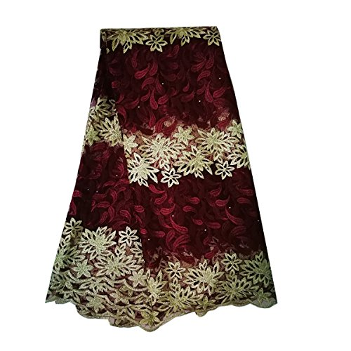 KENLACE 5 Yards/Lot Latest Net French Lace Material French Net African Lace Fabric With Stone Nigerian Wedding African Lace (Wine)