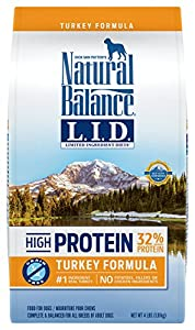 Natural Balance Limited Ingredient Diets High Protein Dry Dog Food, Turkey Formula, Grain Free, 4-Pound