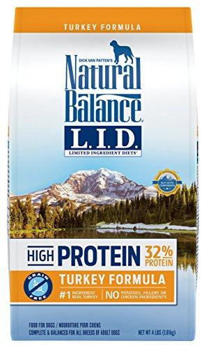 Natural Balance Limited Ingredient Diets High Protein Dry Dog Food, Turkey Formula, Grain Free, 4-Pound