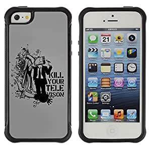 Hybrid Anti-Shock Defend Case for Apple iPhone 5 5S / Deep Message Art