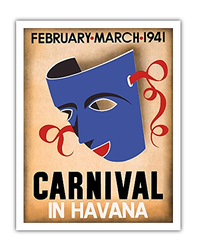 Pacifica Island Art Cuba - Carnival in Havana - February, March 1941 Cuban version 3886 - Vintage Carnival Poster c.1941 - Fine Art Print - 11in x 14in