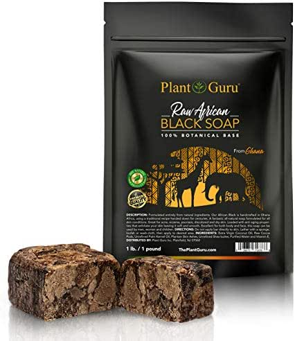 Raw African Black Soap 1 lb. Bar From Ghana 100% Pure Natural Acne Treatment, Aids Eczema & Psoriasis Therapy, Dry Skin, Scar Removal, Pimples and Blackhead, Face Scrub & Body Wash