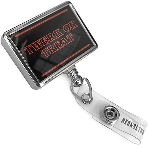Retractable Plastic ID Badge Reel Twerk or Treat Halloween Strange and Spooky with Bulldog Belt Clip On Holder Neonblond -