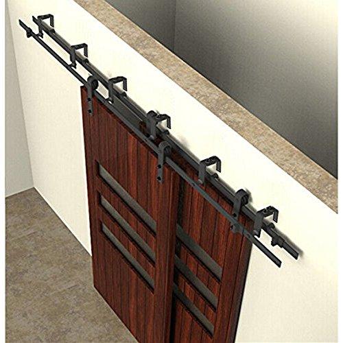 Hahaemall Modern Decorative Bypass Double Steel Sliding Barn Door