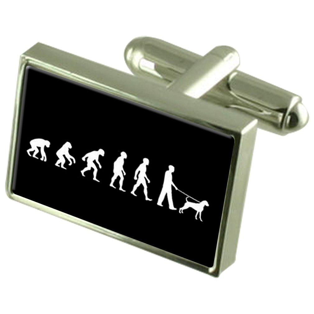 進化の類人猿に人犬ウォーカーカフスボタンクリスタルタイクリップバーボックス刻印された設定   B07141VV5Y