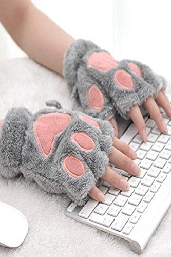 Generic Korean_style_of cartoon_violence_claw_ lovely _male women girls students _dew_refers_to_half-finger_ glove gloves women girls autumn _warm_ winter _plush_cat's_paw_ glove ()