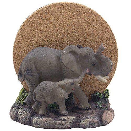 decorative elephants drink coaster set with holder sculpture and cork beverage coasters for african jungle safari decor art and zoo animal figurines as bar - Safari Decor