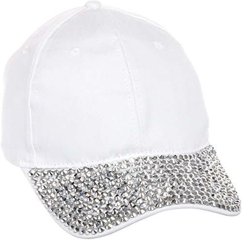 Crystal Case Women's Rhinestone Studded Adjustable Baseball Cap Hat (White)