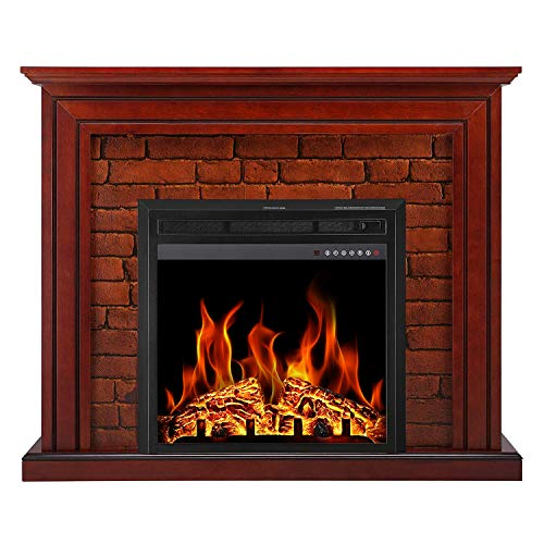 Antarctic Star Electric Fireplace Freestanding Full Frame Stove Heater Portable Wooden Mantel Firebox 3D Flame White